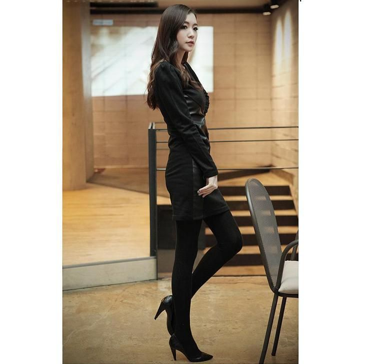 2013 Spring New Fashion Casual Women Dresses for Ladies OL Plus Size PU Leather Patchwork Skinny V neck Free Shipping-in Dresses from Apparel & Accessories on Aliexpress.com