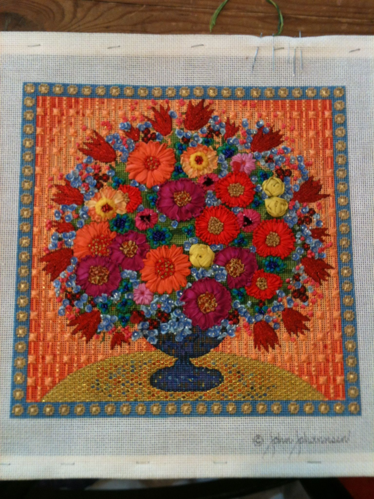 beautiful Melissa Shirley floral needlepoint canvas Needlepoint Patterns, Needlepoint  Canvases, Silk Ribbon Embroidery,