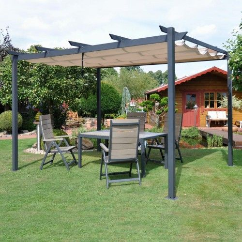 leco pergola 400x300cm aluminium anthrazit mit dach natur terrassenideen pinterest pergolas. Black Bedroom Furniture Sets. Home Design Ideas