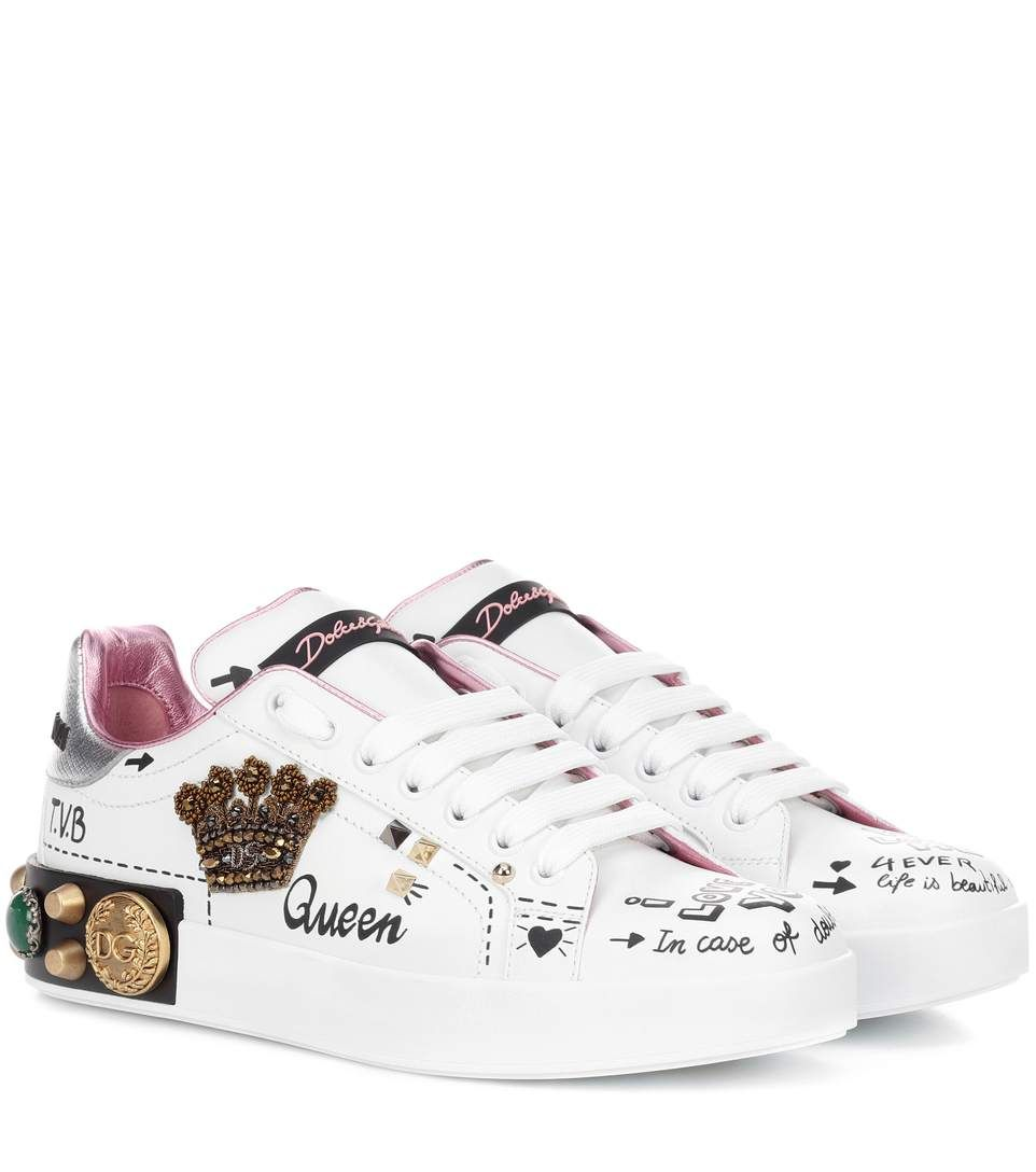 Embellished Leather Sneakers Dolce & Gabbana | mytheresa