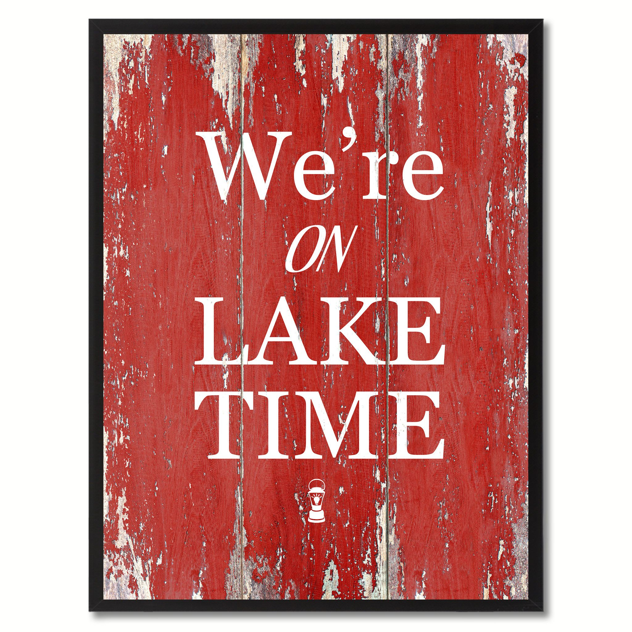 We Re On Lake Time Saying Canvas Print Black Picture Frame Home Decor Wall Art Gifts Wall Art Gift Home Decor Wall Art Lake Decor
