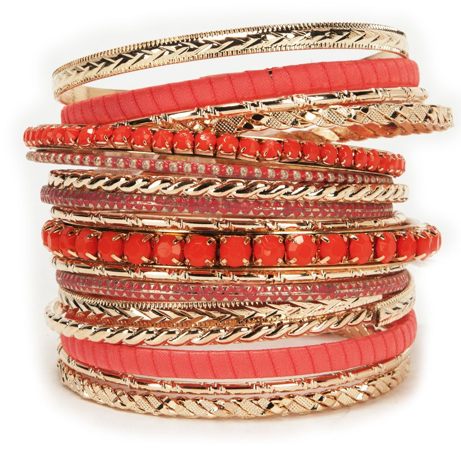 Cara Multi-Texture Stone and Metal Bangle Set #VonMaur
