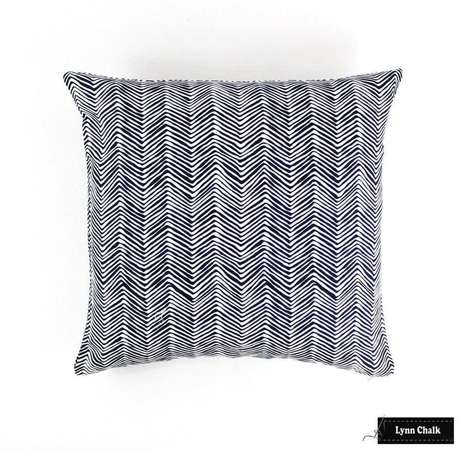 Quadrille Alan Campbell Petite Zig Zag Pillow- In Navy On