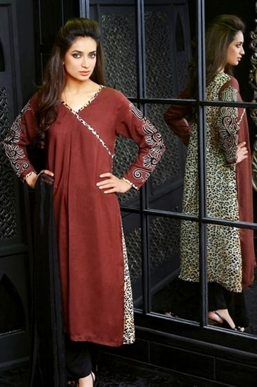 d8a4e465ed Animal Print Linen Kameez With Trousers and Printed Dupatta   Casual ...