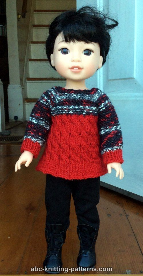 ABC Knitting Patterns - Cable Tunic for 14 inch dolls (Wellie ...