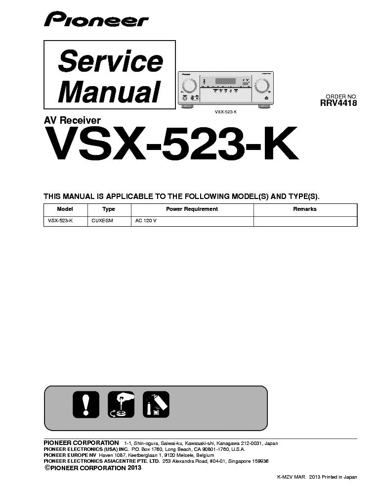 pioneer vsx 523 k vsx 533 rrv4418 sm service manual free download rh pinterest com Pioneer VSX 1123 Pioneer VSX 1123