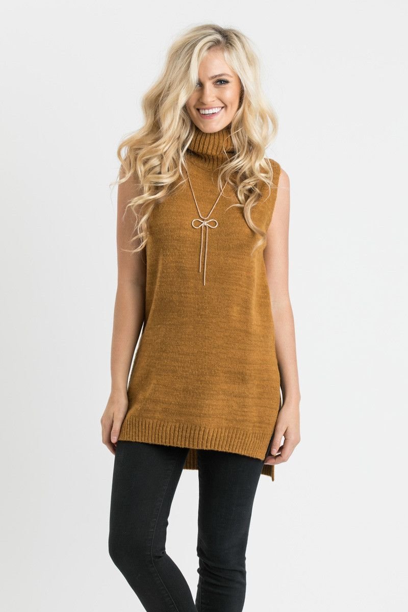 Becky Mustard Knit Turtleneck Sweater Vest | Seasons, A well and ...