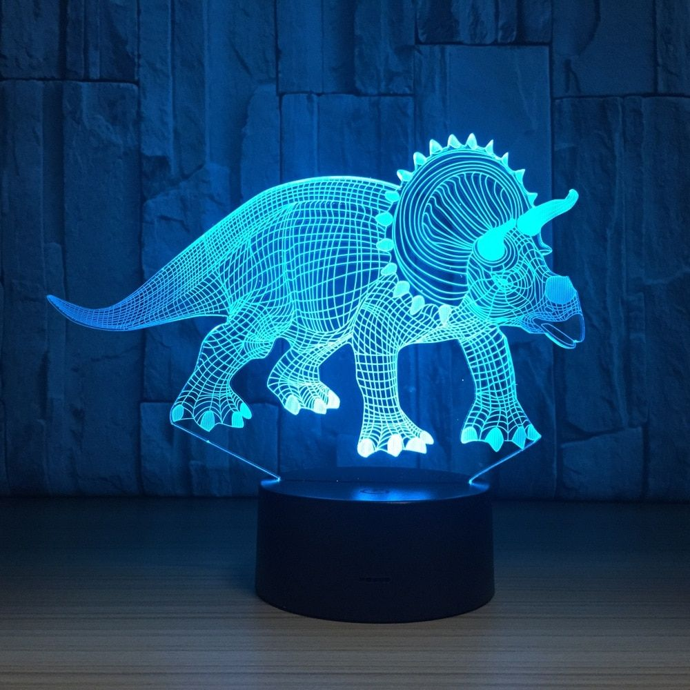 Dinosaur 3d Led Nightlight Triceratops With Images Childrens Night Light Night Light Christmas Party Gift