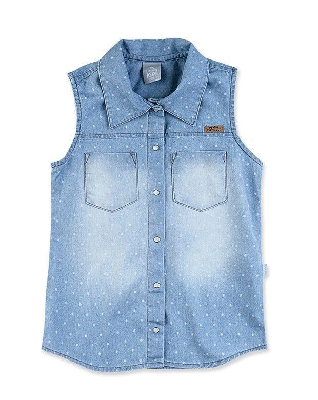 dd1fad448f Camisa Infantil Menina Jeans Sem Mangas Com Lavação Clara