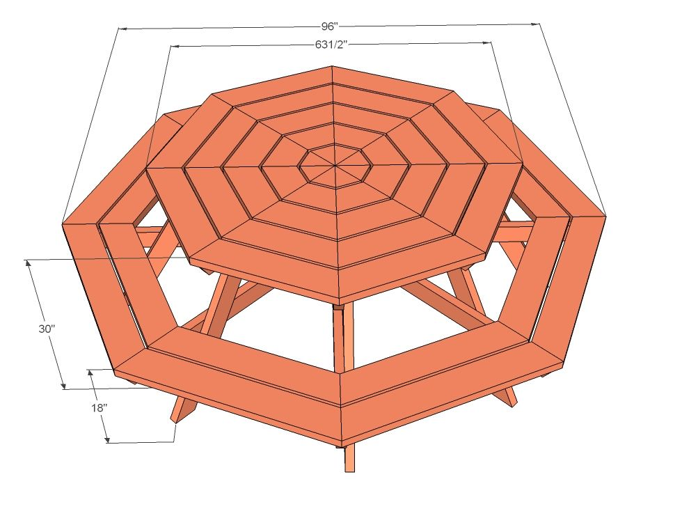beautiful How To Make A Octagon Picnic Table Part - 1: Octagon Picnic Table | Free and Easy DIY Project and Furniture Plans