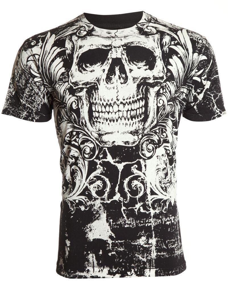 fd34528b567 Archaic AFFLICTION Mens T-Shirt KILLROY Skull Tattoo Biker Gym MMA UFC  M-4XL  40  Affliction  GraphicTee