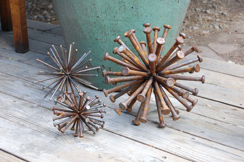 Steel Sphere Sculpture Industrial Art Cycled Nails