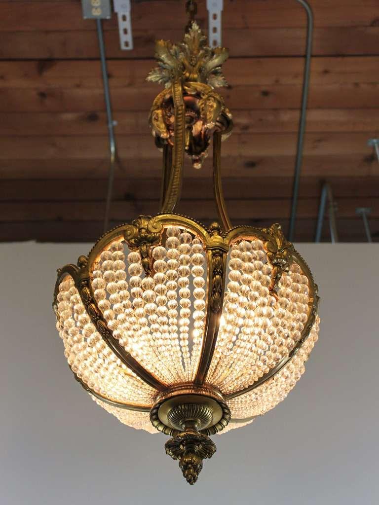 Antique Crystal Rams Head Basket Chandeiler - Antique Crystal Rams Head Basket Chandeiler Chandeliers, Pendant