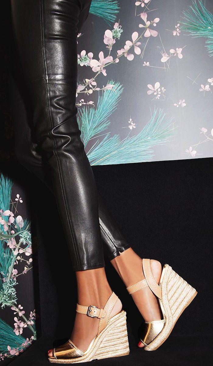 5d1ecec24339 Prada Leather   Metallic Leather Espadrille Wedge Sandals