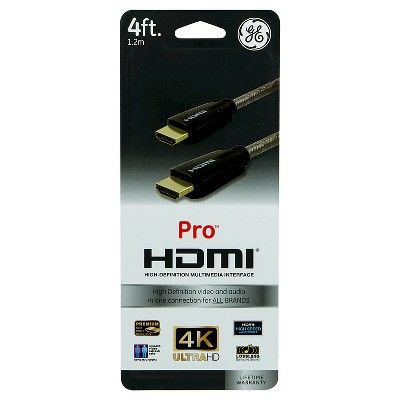 Ge Pro Hdmi Cable 4ft High Speed With Ethernet Gold Connectors Black Hdmi Cables High Speed Audio Connection