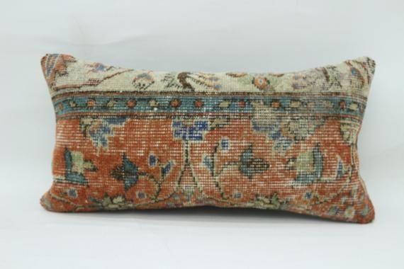 Turkish Rug Pillow 12x24, Anatolian Pillow, Embroidered Pillow, Cushion Cover,Orange Pillow,Neck Thr