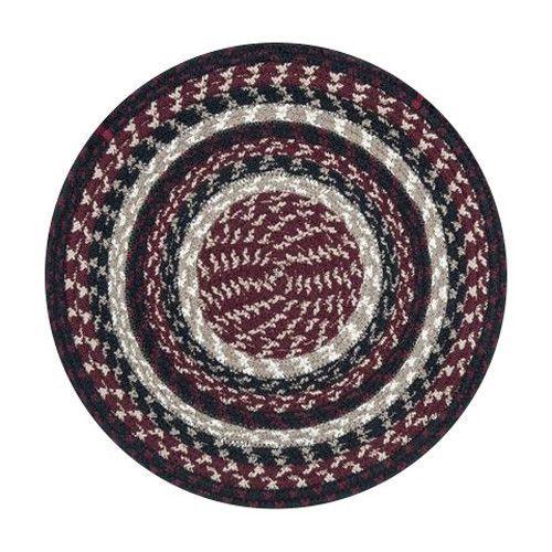 Burgundy/Black/Tan Braided Cotton Blend Round Chair Pad 45 344
