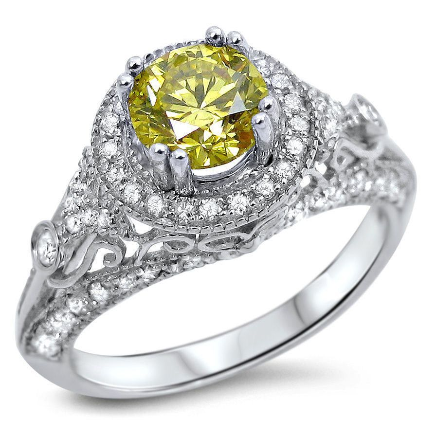 Noori 14k Gold 1 2/5ct TDW Fancy Canary Yellow Diamond Engagement Ring (Size-6), Women's, Size: 6, White G-H