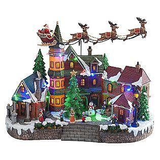 Animated Light-Up Christmas Village Scene- Up/Down Flying Santa ...