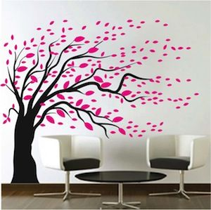 blowing tree wall decal big tree decals from trendy wall designs - Wall Art Design Decals