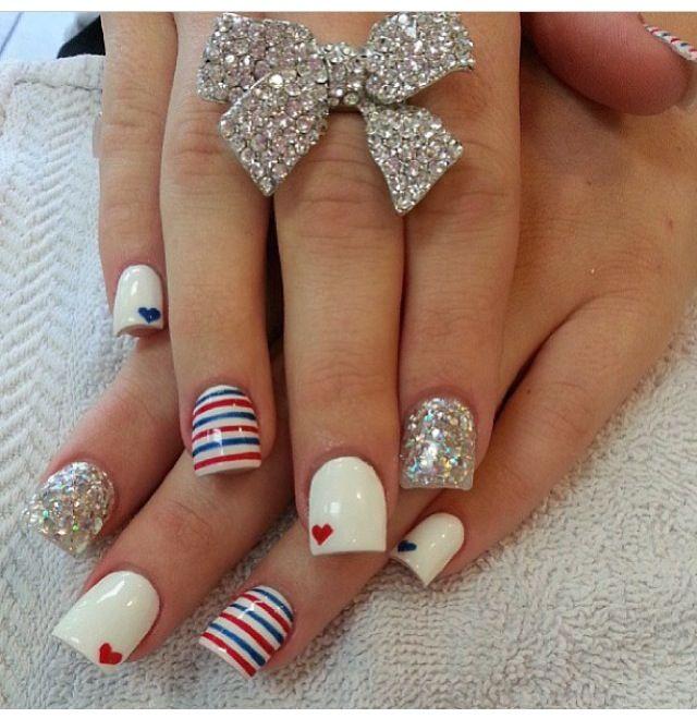 Fourth of July nails | esmalte de uñas | Pinterest | Diseños de uñas ...