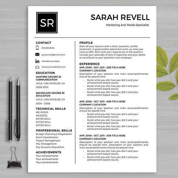 Resume Template For MS Word 1 and 2 page resume, cover letter and