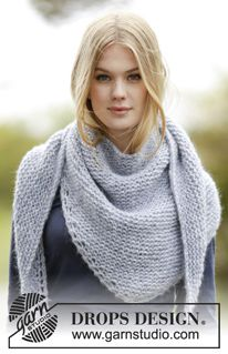"Loving Embrace - Strikket DROPS sjal i ""Air"" med retstrik - Free pattern by DROPS Design"