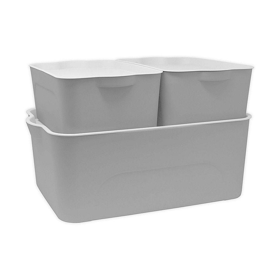 White Storage Bins With Lids