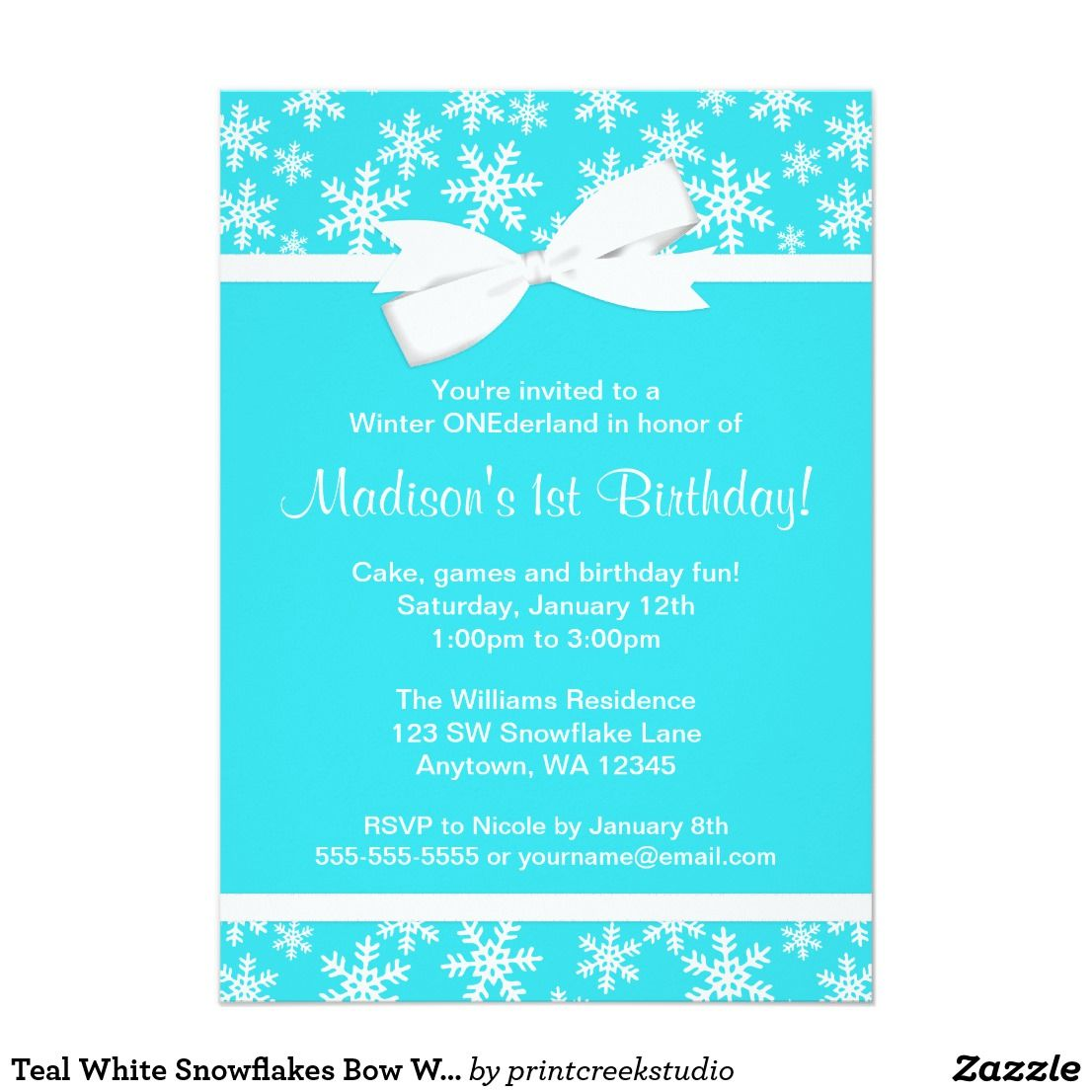 Teal White Snowflakes Bow Winter ONEderland Card | Winter onederland ...