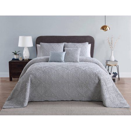 Vcny Home Westland Embroidered Plush 5 Piece Bedspread, Multiple Colors and Sizes Available, Gray