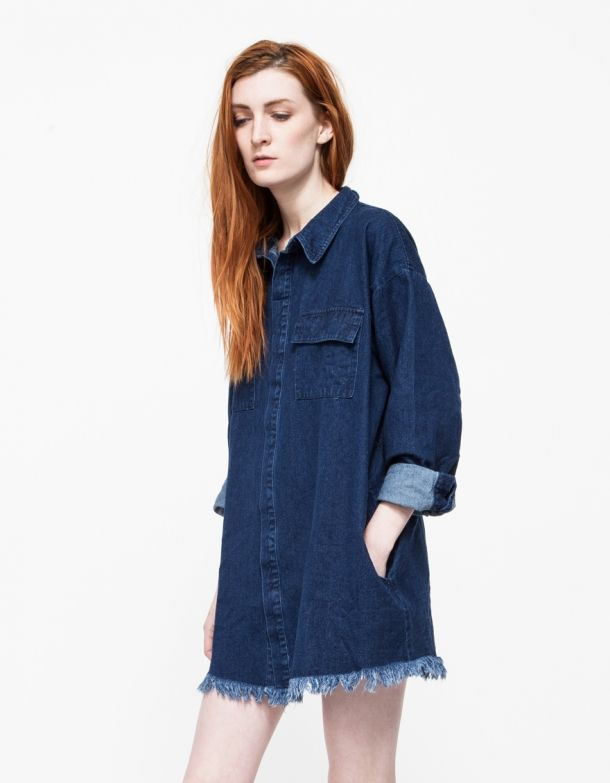 dec18b91cd5 From Farrow, a long sleeve denim button-down shirt dress with modern details.  Features a snap button-down front, two chest pockets, button cuffs, ...