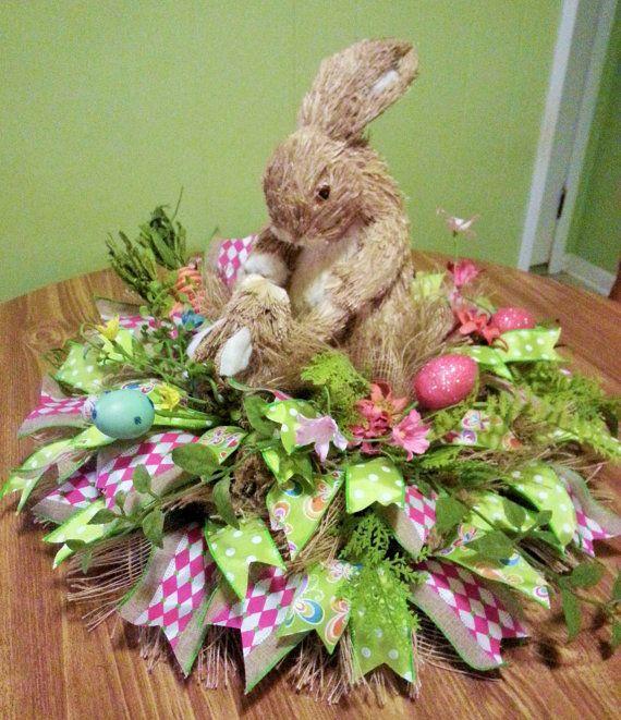 Bunny table arrangement easter centerpiece easter arrangement raz sisal bunny table arrangement easter centerpiece easter arrangement easter home decor negle Images