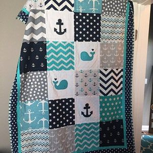 NAUTICAL Baby quilt/Baby quilts/Handmade quilts/Mo