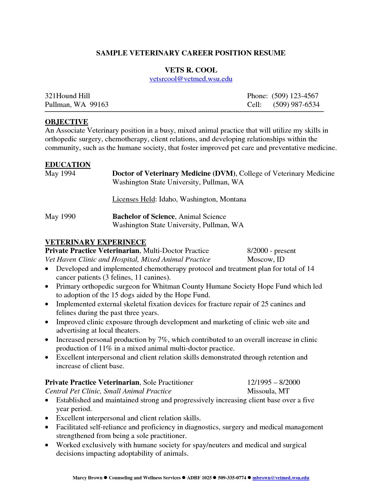 Veterinary Technician Resume Sample Professor First Paragraph