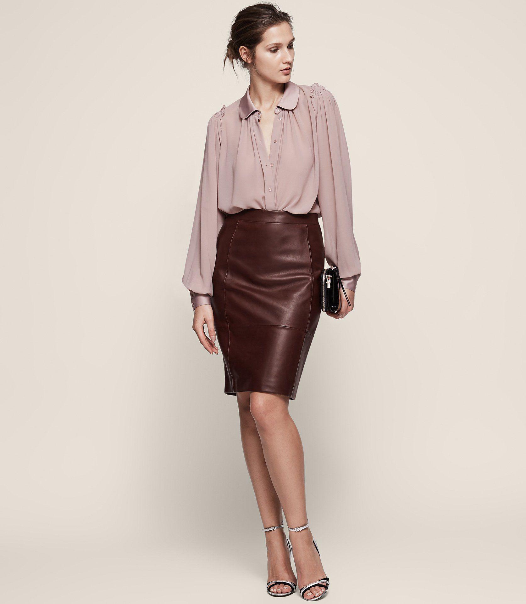 373c862e78 Olivia Stretch Panel Leather Skirt - REISS