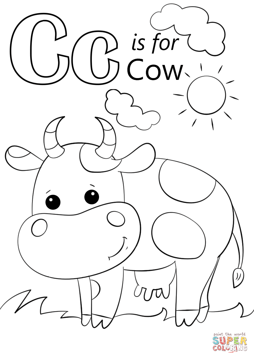 Letter c is for cow coloring page from letter c category select from 27278 printable crafts of cartoons nature animals bible and many more