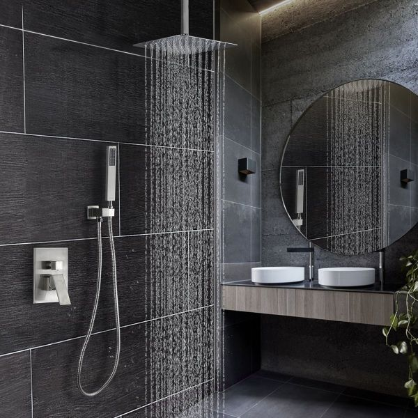 Khrodis Ceiling Shower System Brushed Nickel With High Pressure 12 Inch Rain Shower Head Shower