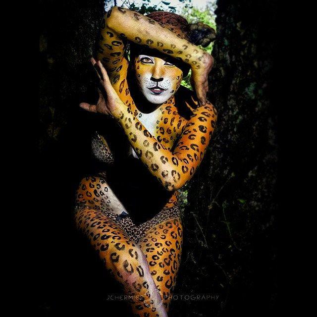 #leopard #bodypainting #painted #animal #model #mua #Makeup  #artist  @bobbibicker #hair @annaromanenkova #wild #forest #scared #trees