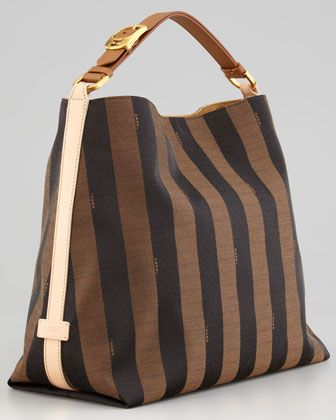 e3b991014a Fendi Pequin Large Striped Hobo Bag