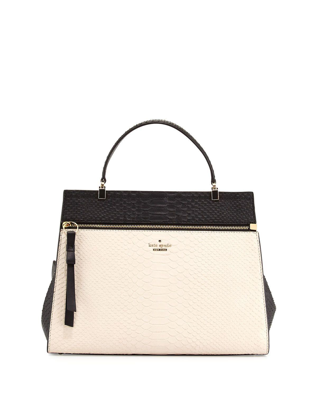 shaw street keegan python-embossed tote bag, soft white/black
