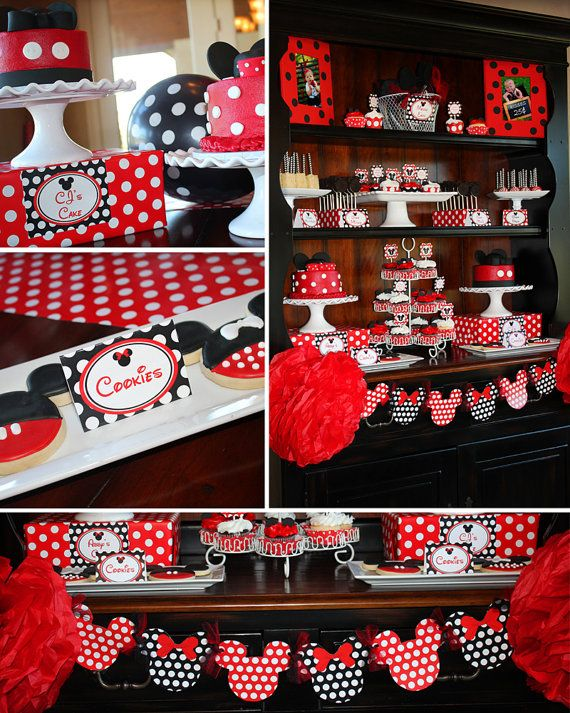 Minnie Mouse Party - Minnie Mouse Birthday - PRINTABLE Personalized Party Package - Red and Black Polka Dots on Etsy, $25.00