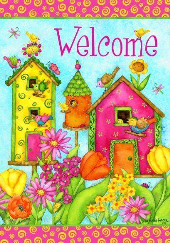 Welcome Colorful Birdhouse Spring Summer Double Sided Garden Flag 12 x 18 Custom Decor http://www.amazon.com/dp/B00HBFZ408/ref=cm_sw_r_pi_dp_TXpdvb01ETFJF