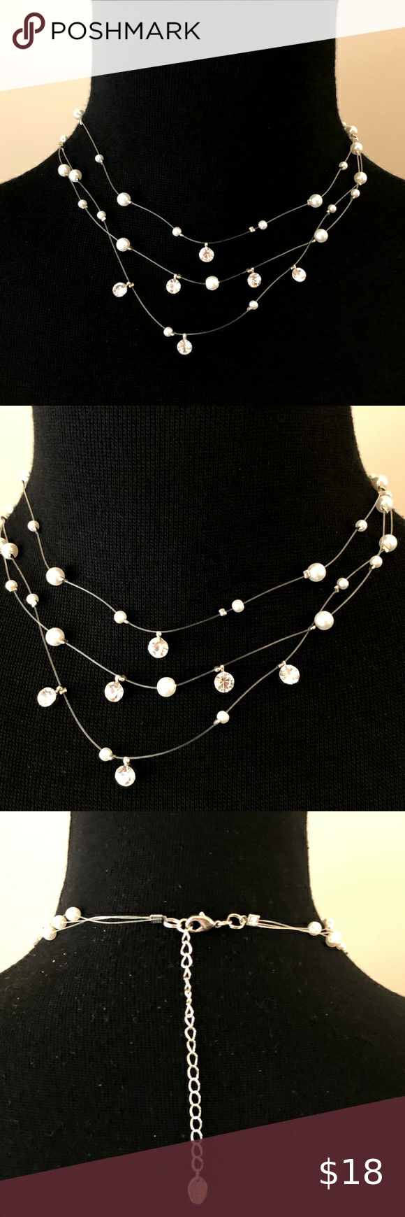 Claires Triple illusion pearl crystal necklace