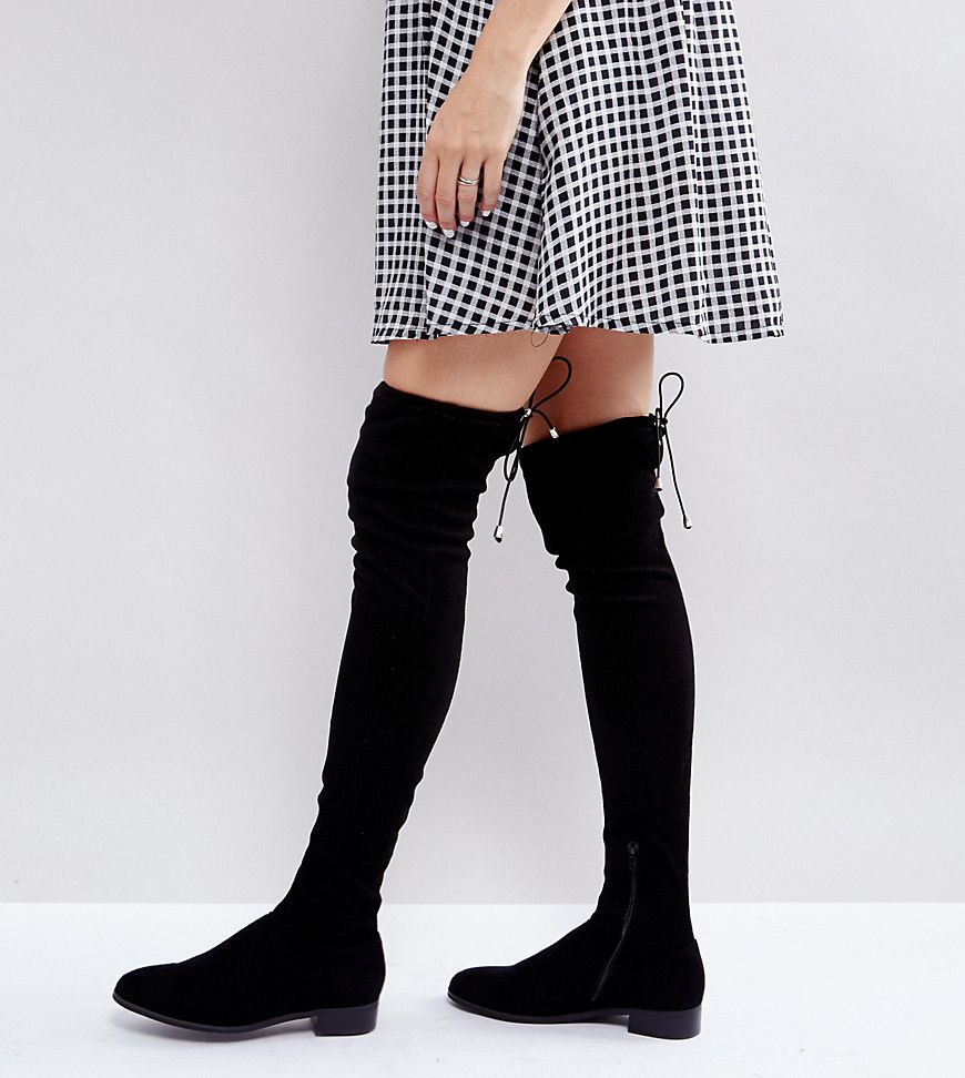49d2720dd85 ASOS KEEP UP PETITE Flat Over The Knee Boots - Black