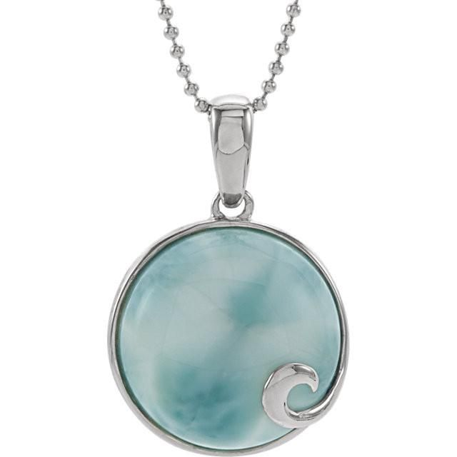 "Sterling Silver Round Larimar Cabochon Wave 18"" Necklace"