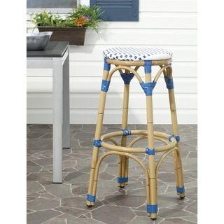 Safavieh Kipnuk Blue/ White Indoor Outdoor Stool - Free Shipping Today - Overstock.com - 15820417 - Mobile
