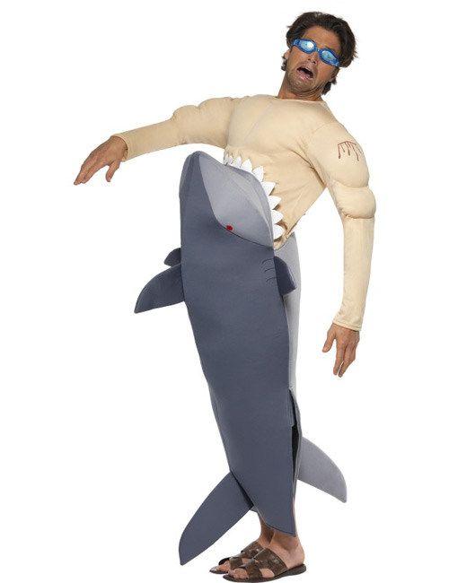 Witziges Haikostüm Herrenkostüm Surfer Tierkostüm Hai Attacke Kostüm Männer
