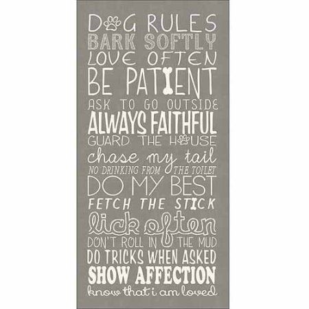 Dog Rules Whimsical Doodle Inspirational Pet Collage Typography Tan & White Canvas Art by Pied Piper Creative, Beige