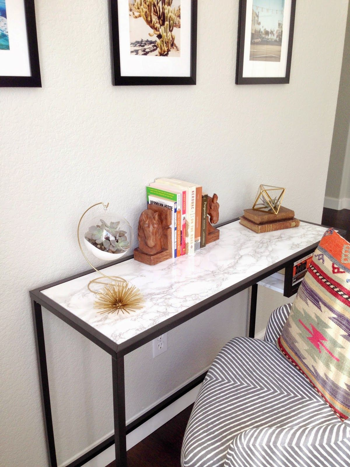 10 Minute Faux Marble Console   Ikea Hack