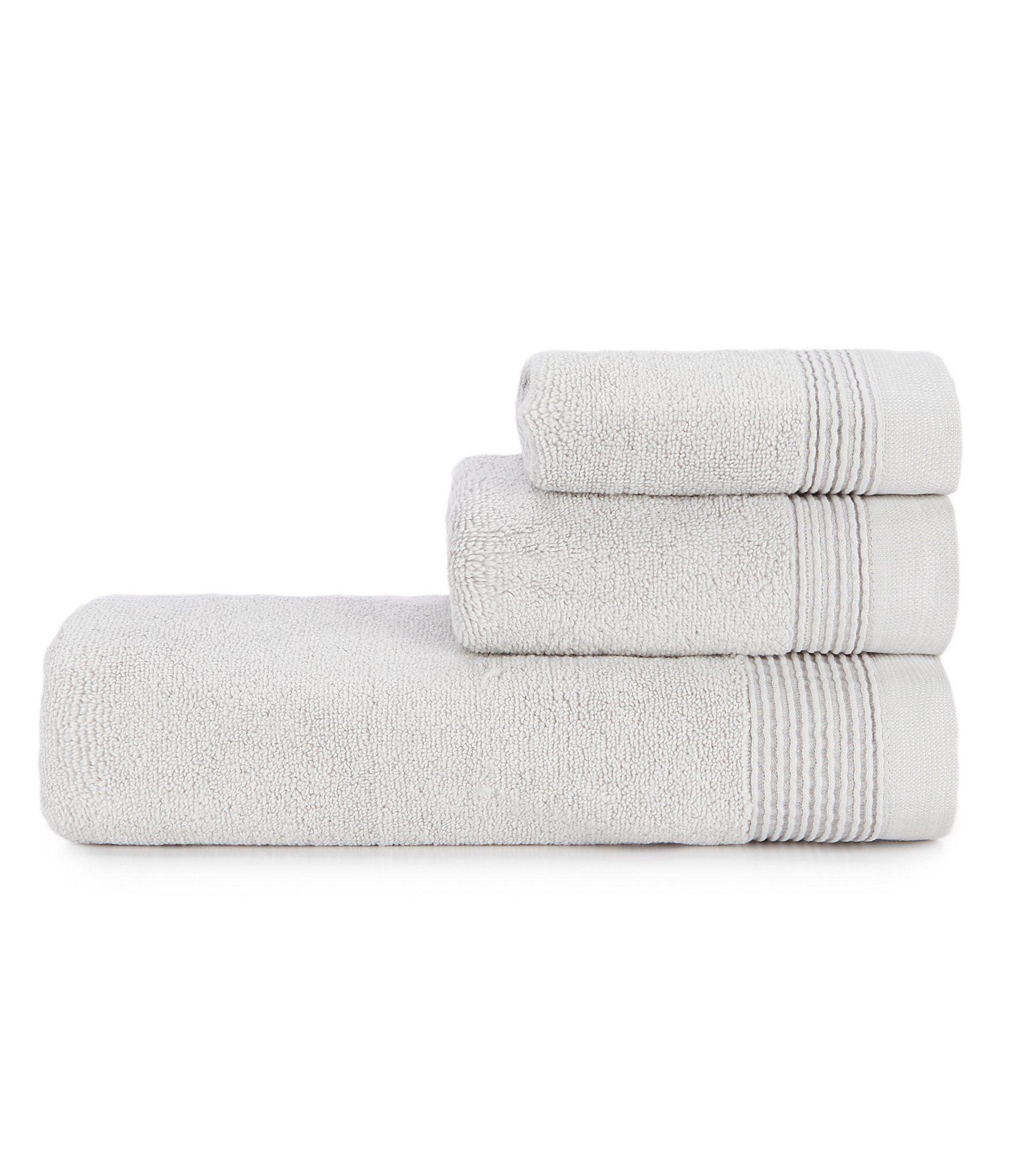 H Halston Ribbed Pinstripe Bath Towels - Bright White Bath Towel #handtowels